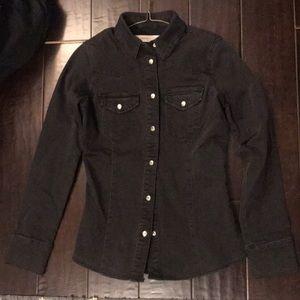 Black snap button down denim long sleeve